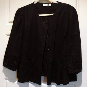 Black Linen Jacket with Puff Sleeve & Fitted Cuff